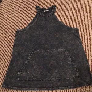 NYTT halter neck dark gray acid washed tank